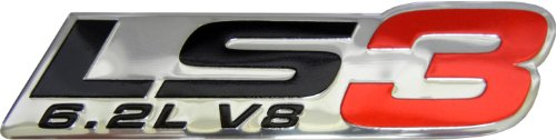 LS3 6.2L V8 Red Engine Emblem Badge Nameplate Highly Polished Aluminum Chrome Silver for GM General Motors Performance Chevy Chevrolet Corvette C6 Camaro SS RS Pontiac G8 GXP Holden Vauxhall VXR8