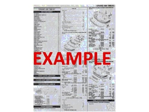 1997 - 2004 CHEVROLET CORVETTE PART NUMBERS, LABOR & PRICE ILLUSTRATED SHEETS