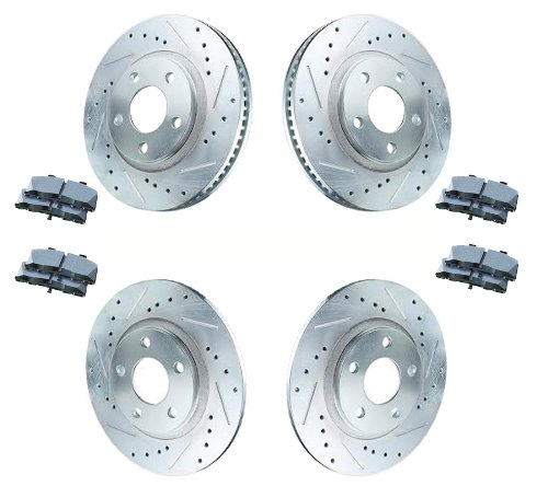 1997 - 2004 CHEVY CHEVROLET CORVETTE C5 Front and Rear Cross Drilled / Slotted Sport Brake Rotors , Performance Ceramic Pads , and Stainless Steel Hardware Package