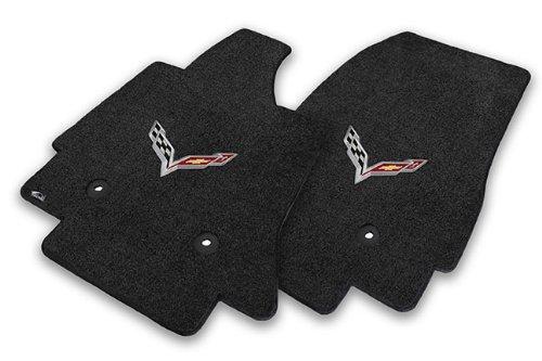 2014+ Corvette C7 Stingray Jet Black Lloyds Front Floor Mats with Crossed Racing Flags Logo