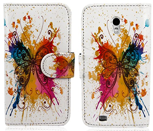 myLife White {Rainbow Butterfly Paint Splatter Design} Faux Leather (Card, Cash and ID Holder + Magnetic Closing) Slim Wallet for Galaxy Note 3 Smartphone by Samsung (External Textured Synthetic Leather with Magnetic Clip + Internal Secure Snap In Closure Hard Rubberized Bumper Holder)