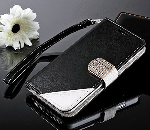 myLife Chic Black - Modern Design - Koskin Faux Leather (Card, Cash and ID Holder + Magnetic Detachable Closing + Hand Strap) Slim Wallet for NEW Galaxy S5 (5G) Smartphone by Samsung (External Rugged Synthetic Leather With Magnetic Clip + Internal Secure Snap In Hard Rubberized Bumper Holder)