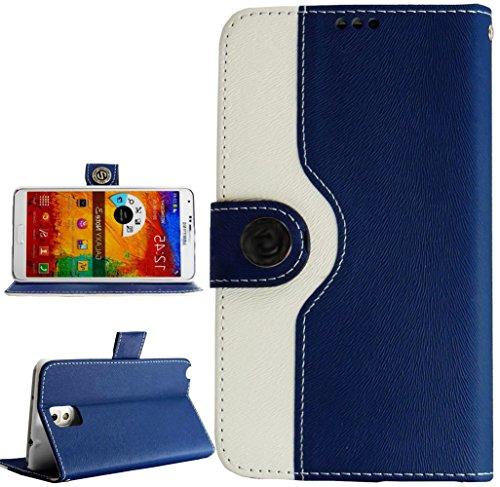 myLife Navy Blue + Classy White {Modern Design} Faux Leather (Card, Cash and ID Holder + Magnetic Closing) Slim Wallet for Galaxy Note 3 Smartphone by Samsung (External Textured Synthetic Leather with Magnetic Clip + Internal Secure Snap In Closure Hard Rubberized Bumper Holder)