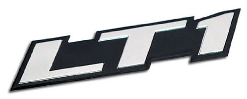 LT1 Embossed SILVER on Black Highly Polished Silver Real Aluminum Auto Emblem Badge Nameplate for GM General Motors Performance Chevy Chevrolet Corvette C4 Camaro B4C SS Caprice Police Package Wagon Impala SS Buick Roadmaster Cadillac Fleetwood Pontiac Firebird Z28 Trans AM 5.7L Liter V8