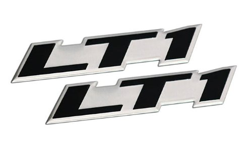 2 x (pair/set) LT1 Embossed BLACK on Highly Polished Silver Real Aluminum Auto Emblem Badge Nameplate for GM General Motors Performance Chevy Chevrolet Corvette C4 Camaro B4C SS Caprice Police Package Wagon Impala SS Buick Roadmaster Cadillac Fleetwood Pontiac Firebird Z28 Trans AM 5.7L Liter V8