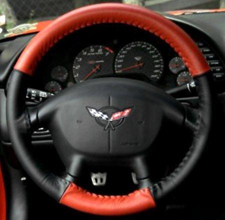 Corvette Steering Wheel Cover Euro-Style Two-Tone : C5 & Z06 - Red/Black