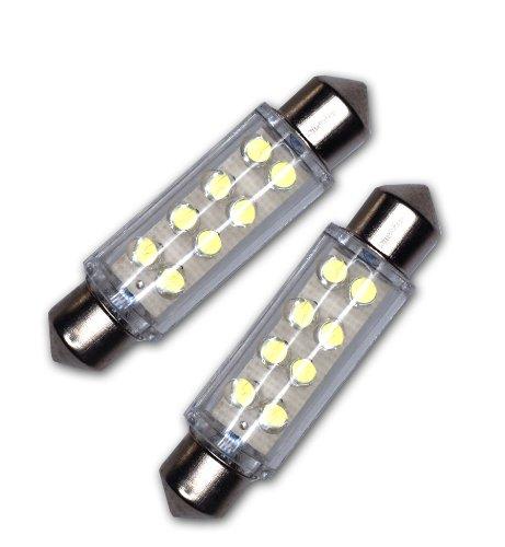 TuningPros LEDDL-42M-B8 Dome Light LED Light Bulbs Festoom 42mm, 8 LED Blue 2-pc Set