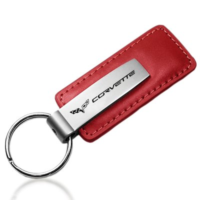 Chevrolet Corvette C5 Red Leather Car Key Chain , Official Licensed