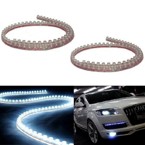(2) iJDMTOY 20 inches 48-LED Flexible LED Strip Lights For Headlights, DRL, Xenon White
