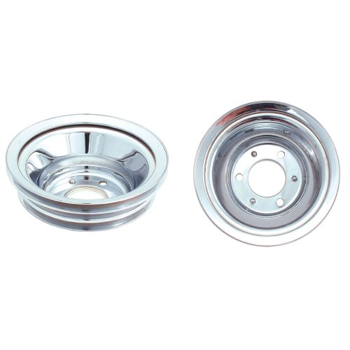 Spectre Performance 4508 Chrome Triple Belt Crankshaft Pulley for Big Block Chevy with Long Water Pump
