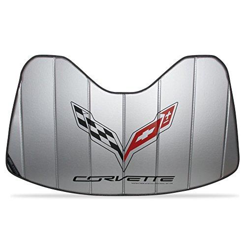 West Coast Corvette C7 Corvette Stingray Logo Accordion Style Sunshade - Insulated Plain Silver