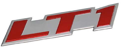 LT1 Embossed RED on Highly Polished Silver Real Aluminum Auto Emblem Badge Nameplate for GM General Motors Performance Chevy Chevrolet Corvette C4 Camaro B4C SS Caprice Police Package Wagon Impala SS Buick Roadmaster Cadillac Fleetwood Pontiac Firebird Z28 Trans AM 5.7L Liter V8