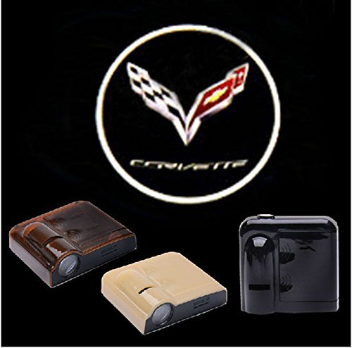 2PCS 5W Universal Wireless No Drill Magnetic Car LED Door Welcome Projector Logo Ghost Shadow Laser Lights for Corvette