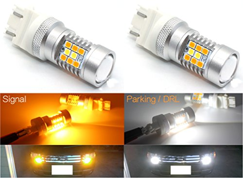 Cllena Super Bright White / Amber Switchback LED Bulbs 3157 3047 3057 3155 3457 4057 4157 for Turn Signal Lights